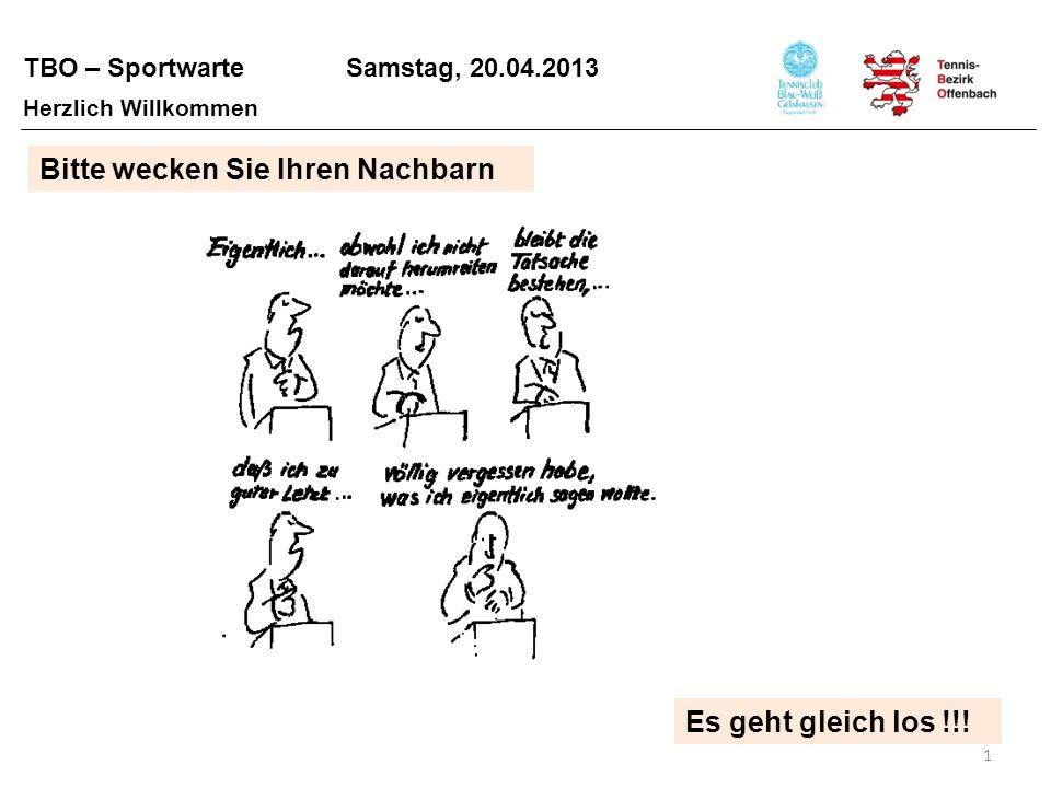TBO – Sportwarte Samstag, 20.04.2013 1 Herzlich Willkommen Bitte wecken Sie Ihren Nachbarn Es geht gleich los !!!