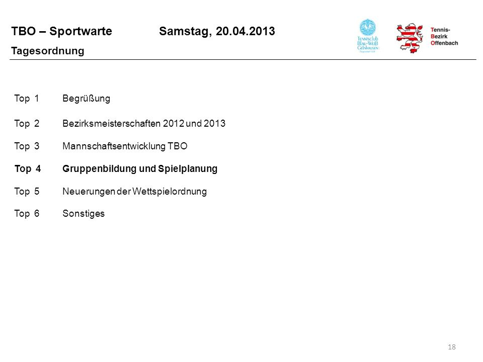 TBO – Sportwarte Samstag, 20.04.2013 18 Top 1Begrüßung Top 2Bezirksmeisterschaften 2012 und 2013 Top 3Mannschaftsentwicklung TBO Top 4Gruppenbildung u