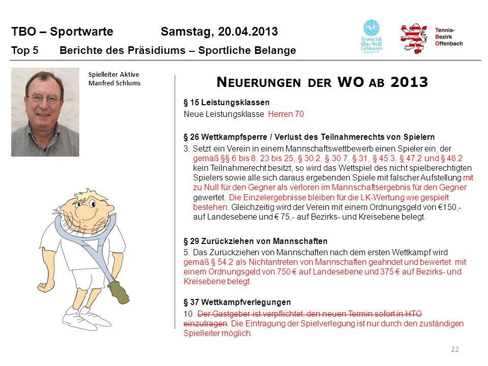 TBO – Sportwarte Samstag, 20.04.2013 22 Top 5 Berichte des Präsidiums – Sportliche Belange Spielleiter Aktive Manfred Schlums § 26 Wettkampfsperre / V
