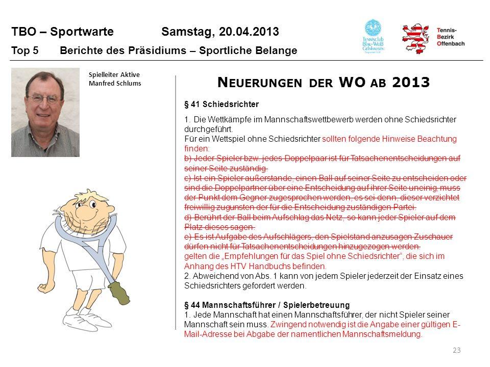 TBO – Sportwarte Samstag, 20.04.2013 23 Top 5 Berichte des Präsidiums – Sportliche Belange Spielleiter Aktive Manfred Schlums § 41 Schiedsrichter 1. D