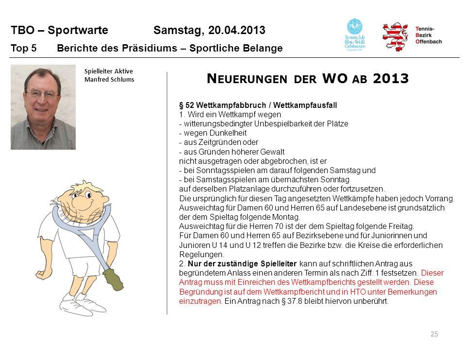TBO – Sportwarte Samstag, 20.04.2013 25 Top 5 Berichte des Präsidiums – Sportliche Belange Spielleiter Aktive Manfred Schlums § 52 Wettkampfabbruch /