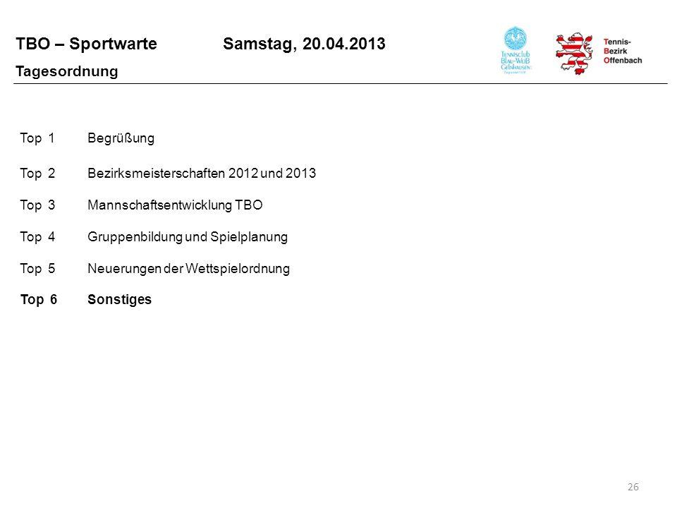 TBO – Sportwarte Samstag, 20.04.2013 26 Top 1Begrüßung Top 2Bezirksmeisterschaften 2012 und 2013 Top 3Mannschaftsentwicklung TBO Top 4Gruppenbildung u