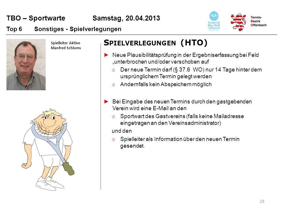 TBO – Sportwarte Samstag, 20.04.2013 29 Spielleiter Aktive Manfred Schlums Top 6 Sonstiges - Spielverlegungen Neue Plausibilitätsprüfung in der Ergebn