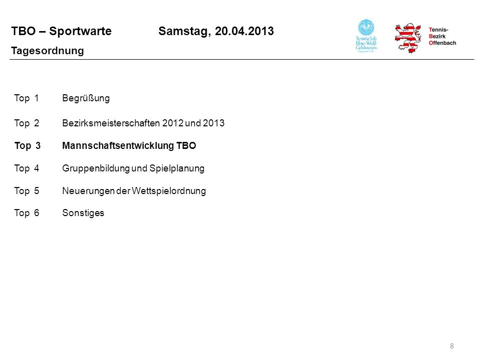 TBO – Sportwarte Samstag, 20.04.2013 M ITGLIEDERENTWICKLUNG 9 Top 3 Mannschaftsentwicklung - Allgemein 200720082009201020112012 HTV141.605139.434139.930137.011133.164131.076 TBO23.14622.55122.59422.16021.93421.485 HTV-Rückgang 2007 – 2012 - 7,4 % TBO-Rückgang 2007 – 2012 - 7,2 % Spielleiter Aktive Manfred Schlums
