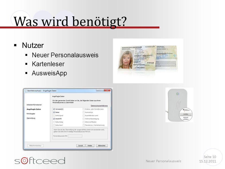 Was wird benötigt? Neuer Personalausweis Seite 10 15.12.2011 Nutzer Neuer Personalausweis Kartenleser AusweisApp