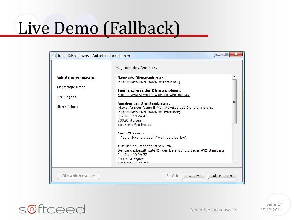 Live Demo (Fallback) Neuer Personalausweis Seite 17 15.12.2011