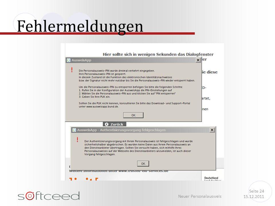 Fehlermeldungen Neuer Personalausweis Seite 24 15.12.2011