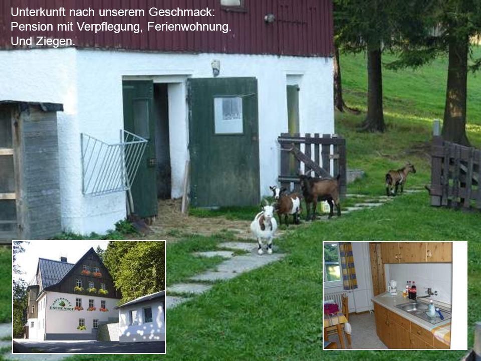 Unterkunft nach unserem Geschmack: Pension mit Verpflegung, Ferienwohnung. Und Ziegen.