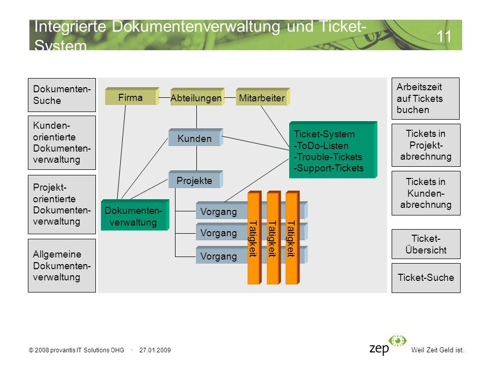 Weil Zeit Geld ist. 11 © 2008 provantis IT Solutions OHG · 27.01.2009 Kunden Vorgang Projekte Tätigkeit Tickets in Projekt- abrechnung Tickets in Kund