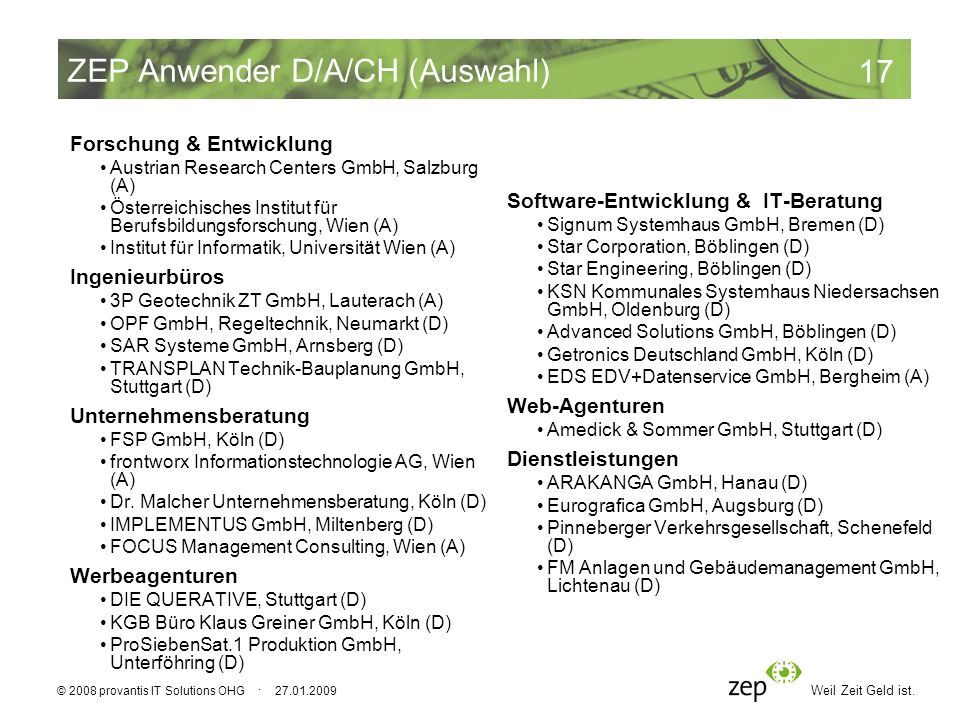 Weil Zeit Geld ist. 17 © 2008 provantis IT Solutions OHG · 27.01.2009 ZEP Anwender D/A/CH (Auswahl) Forschung & Entwicklung Austrian Research Centers