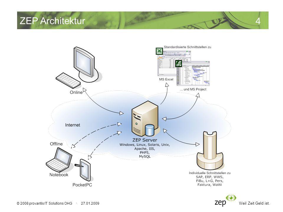 Weil Zeit Geld ist. 4 © 2008 provantis IT Solutions OHG · 27.01.2009 ZEP Architektur