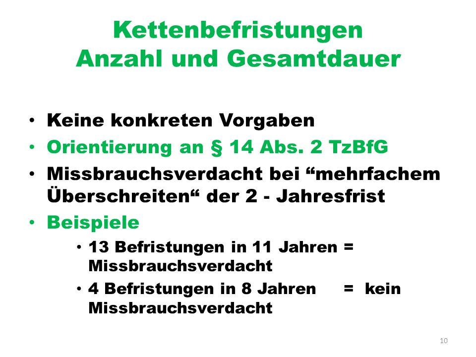 10 Kettenbefristungen Anzahl und Gesamtdauer Keine konkreten Vorgaben Orientierung an § 14 Abs. 2 TzBfG Missbrauchsverdacht bei mehrfachem Überschreit