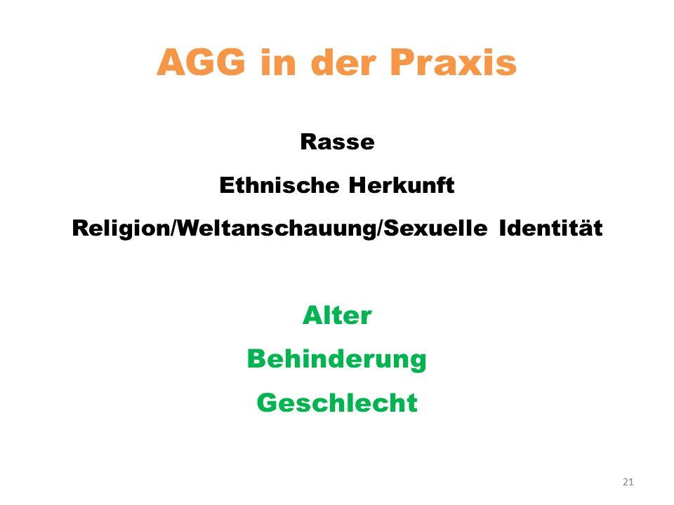 21 AGG in der Praxis Rasse Ethnische Herkunft Religion/Weltanschauung/Sexuelle Identität Alter Behinderung Geschlecht 21