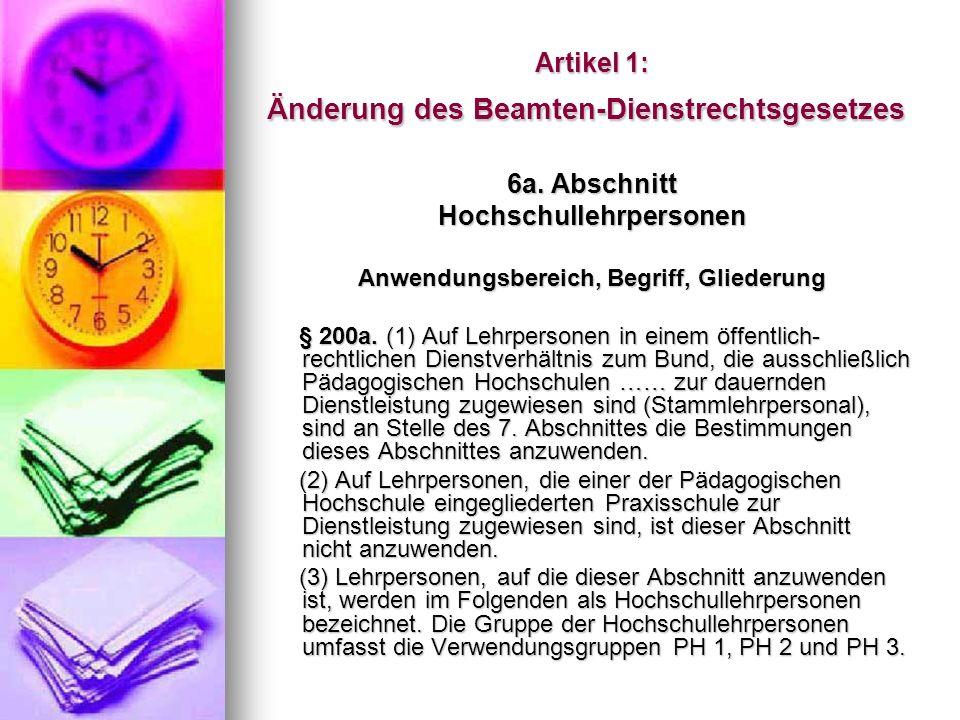 Änderung des Beamten-Dienstrechtsgesetzes Institutsleitung § 200f.