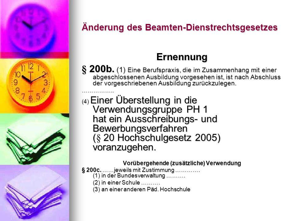 Änderung des Beamten-Dienstrechtsgesetzes Dienstpflichten § 200d.