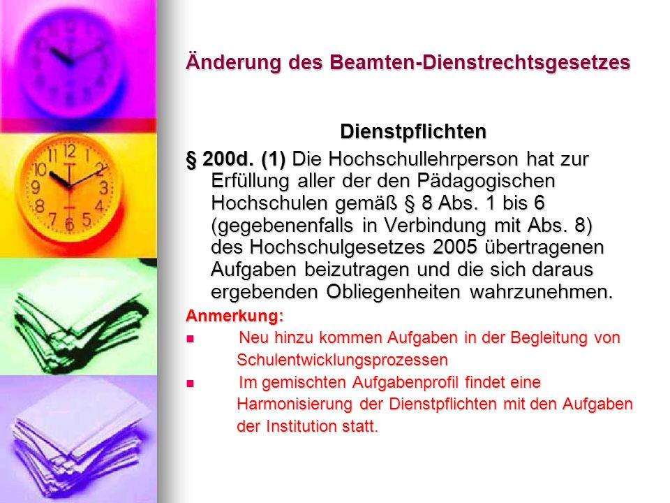 Änderung des Beamten-Dienstrechtsgesetzes Dienstzeit § 200h.