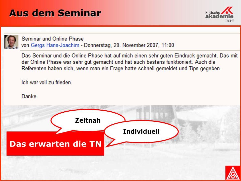 Aus dem Seminar Das erwarten die TN Zeitnah Individuell