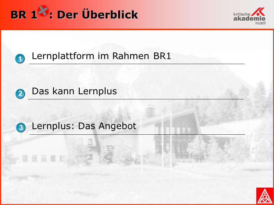 BR 1 : Der Überblick Lernplattform im Rahmen BR1 Das kann Lernplus Lernplus: Das Angebot