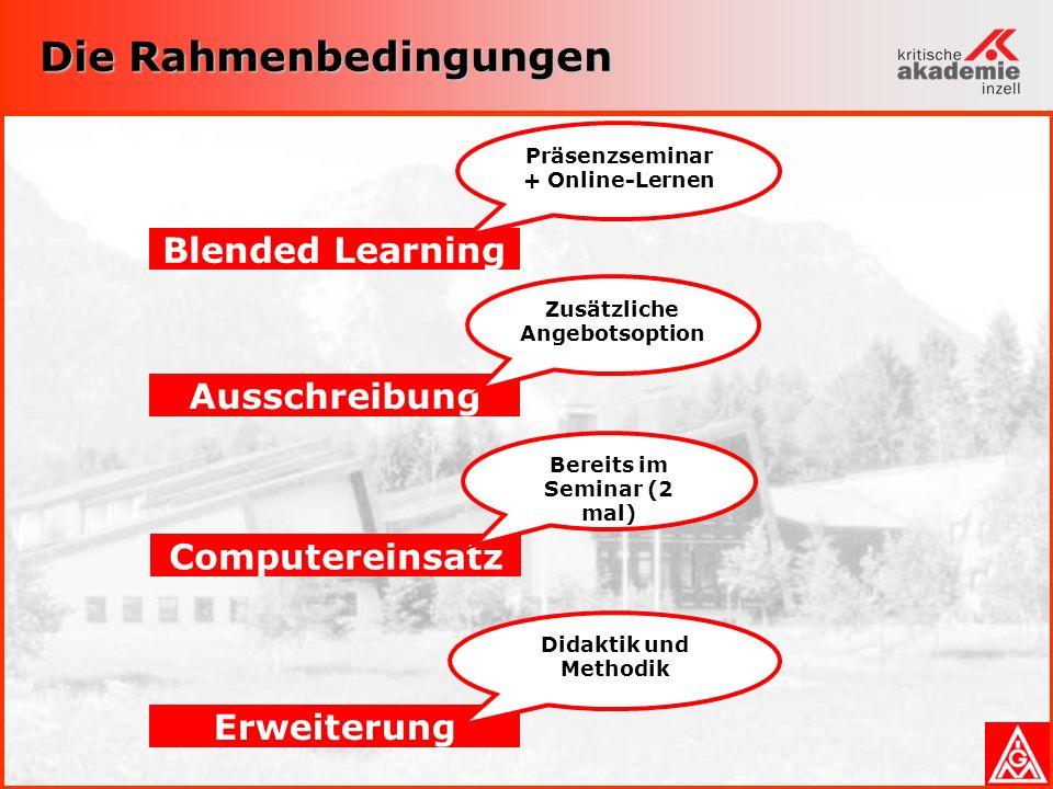 Die Rahmenbedingungen Erweiterung Didaktik und Methodik Blended Learning Präsenzseminar + Online-Lernen Ausschreibung Zusätzliche Angebotsoption Computereinsatz Bereits im Seminar (2 mal)