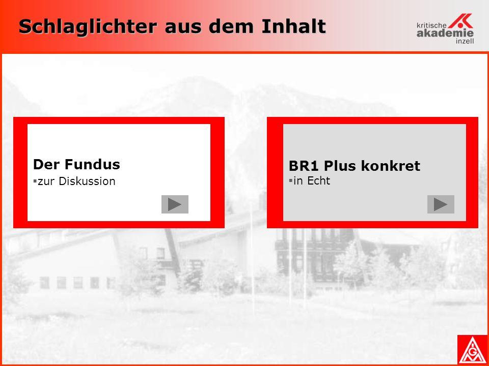Schlaglichter aus dem Inhalt Der Fundus zur Diskussion BR1 Plus konkret in Echt