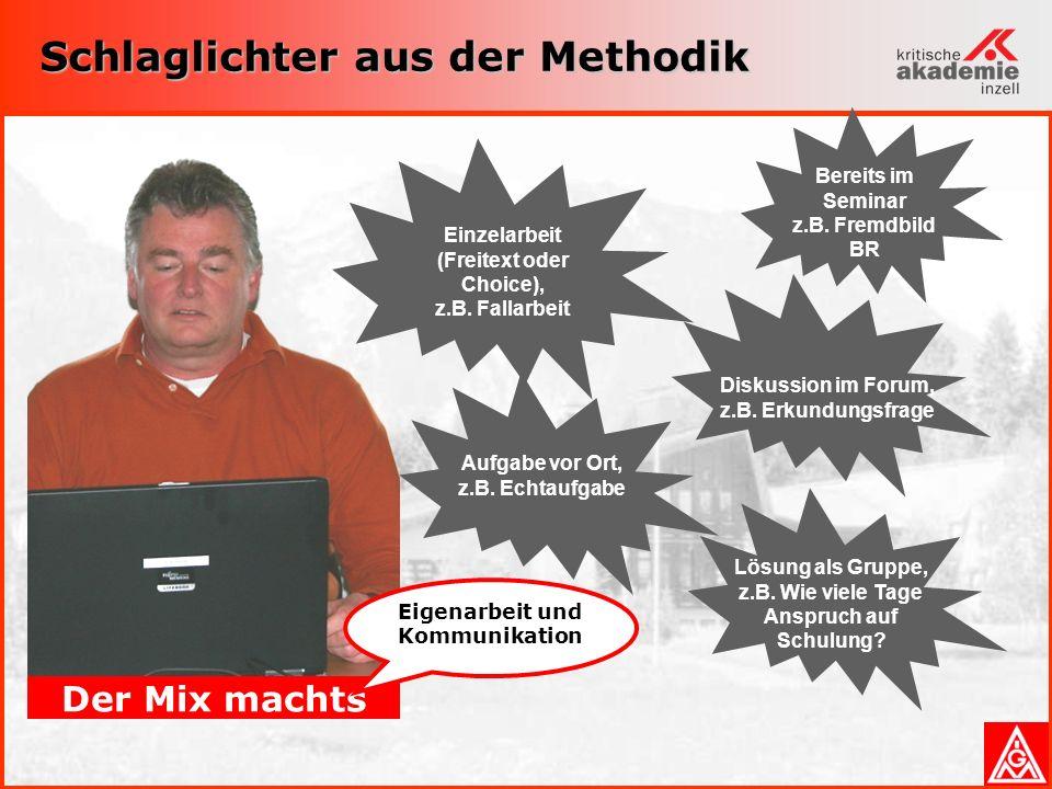 Schlaglichter aus der Methodik Der Mix machts Eigenarbeit und Kommunikation Einzelarbeit (Freitext oder Choice), z.B.