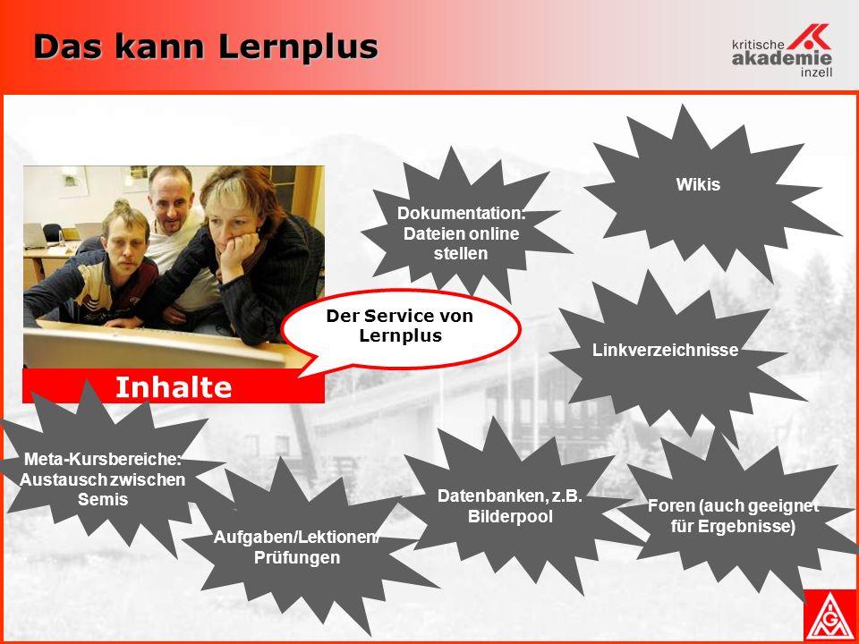 Das kann Lernplus Inhalte Der Service von Lernplus Dokumentation: Dateien online stellen LinkverzeichnisseForen (auch geeignet für Ergebnisse) WikisAufgaben/Lektionen/ Prüfungen Datenbanken, z.B.