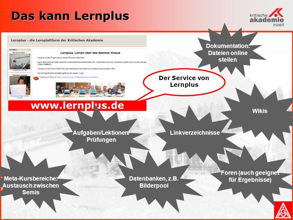 Das kann Lernplus www.lernplus.de Linkverzeichnisse Foren (auch geeignet für Ergebnisse) WikisAufgaben/Lektionen/ Prüfungen Datenbanken, z.B.