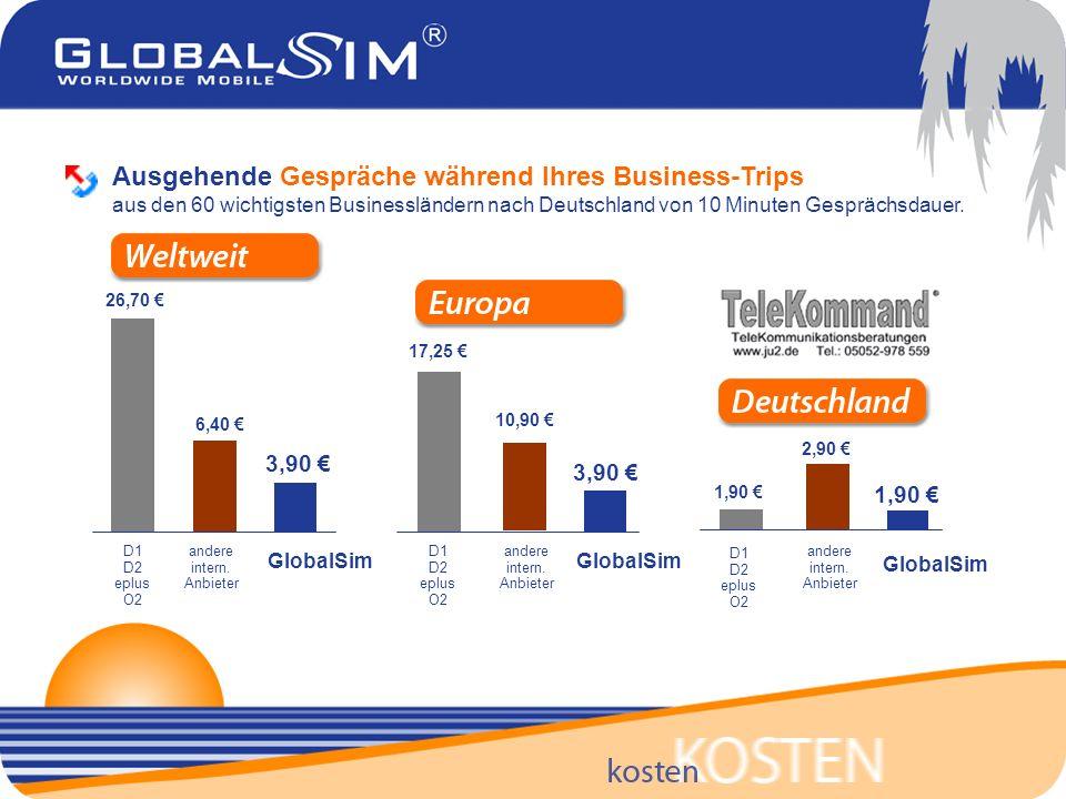 Ausgehende Gespräche während Ihres Business-Trips aus den 60 wichtigsten Businessländern nach Deutschland von 10 Minuten Gesprächsdauer.