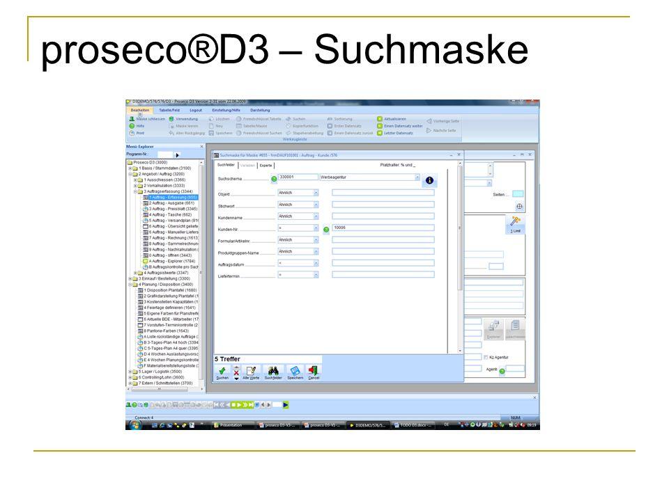 proseco®D3 – Suchmaske