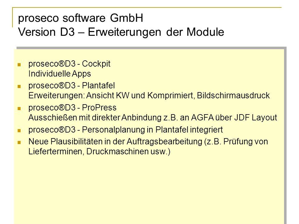 proseco software GmbH Version D3 – Erweiterungen der Module proseco®D3 - Cockpit Individuelle Apps proseco®D3 - Plantafel Erweiterungen: Ansicht KW und Komprimiert, Bildschirmausdruck proseco®D3 - ProPress Ausschießen mit direkter Anbindung z.B.