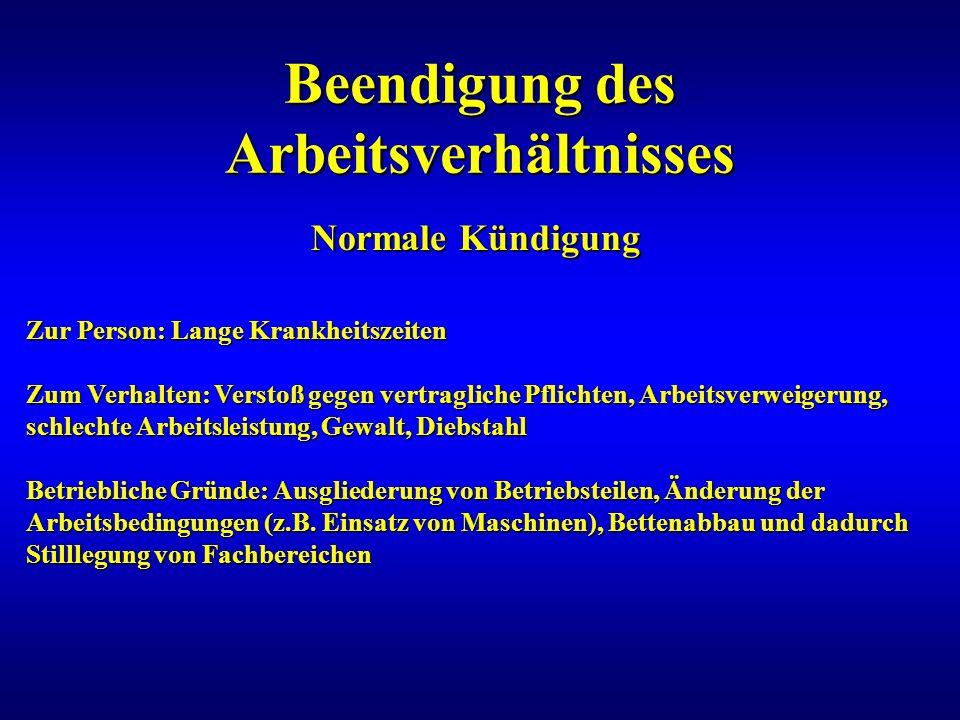 Beendigung des Arbeitsverhältnisses Normale Kündigung Zur Person: Lange Krankheitszeiten Zum Verhalten: Verstoß gegen vertragliche Pflichten, Arbeitsv
