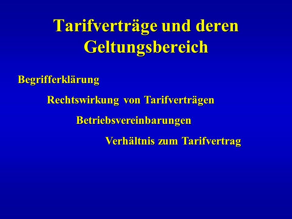 Tarifverträge und deren Geltungsbereich Begrifferklärung Rechtswirkung von Tarifverträgen Betriebsvereinbarungen Verhältnis zum Tarifvertrag