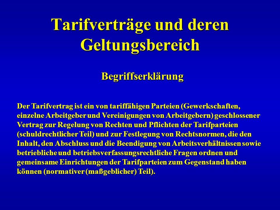 Tarifverträge und deren Geltungsbereich Begriffserklärung Der Tarifvertrag ist ein von tariffähigen Parteien (Gewerkschaften, einzelne Arbeitgeber und