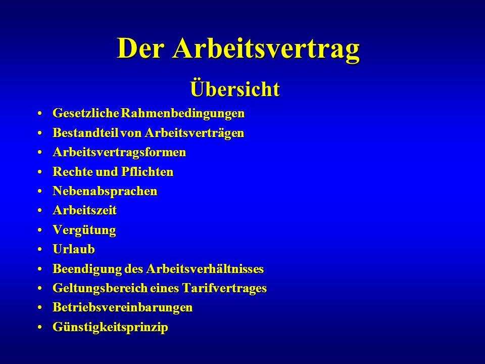 Der Arbeitsvertrag Übersicht Übersicht Gesetzliche RahmenbedingungenGesetzliche Rahmenbedingungen Bestandteil von ArbeitsverträgenBestandteil von Arbe