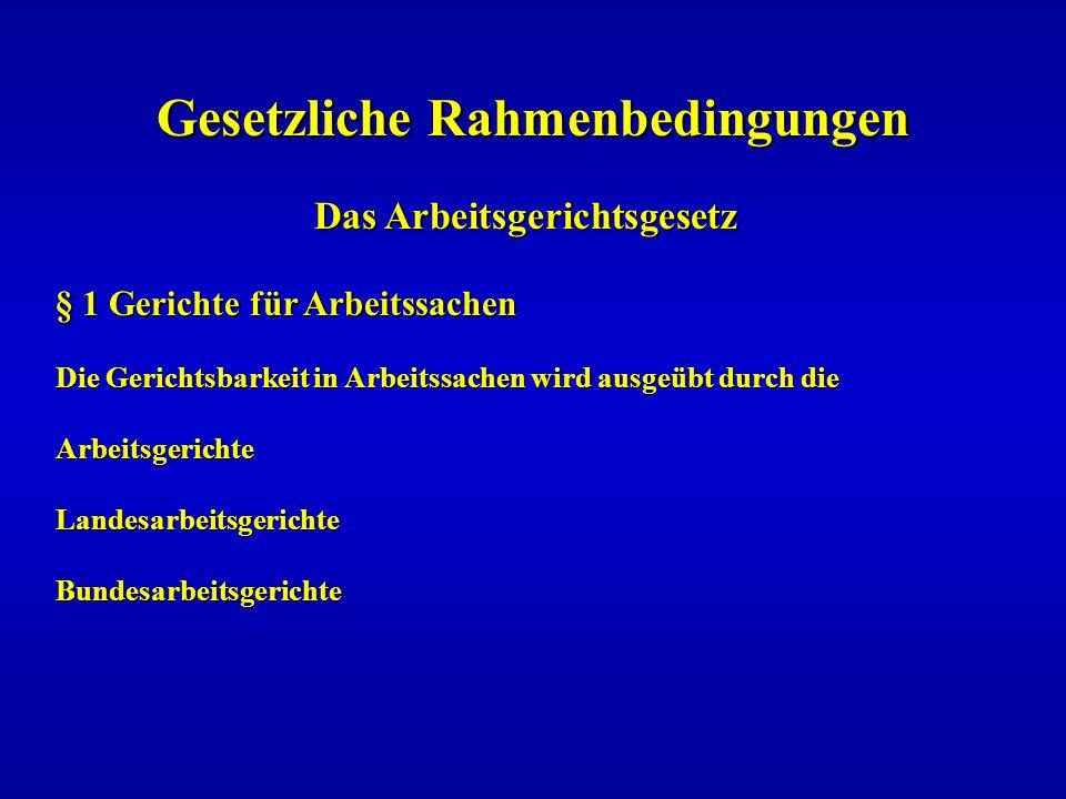 Gesetzliche Rahmenbedingungen Das Arbeitsgerichtsgesetz Das Arbeitsgerichtsgesetz § 1 Gerichte für Arbeitssachen Die Gerichtsbarkeit in Arbeitssachen