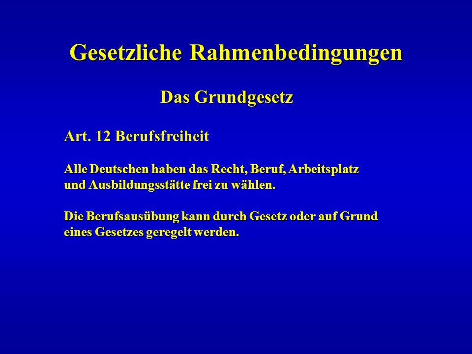 Gesetzliche Rahmenbedingungen Das Grundgesetz Das Grundgesetz Art. 12 Berufsfreiheit Alle Deutschen haben das Recht, Beruf, Arbeitsplatz und Ausbildun
