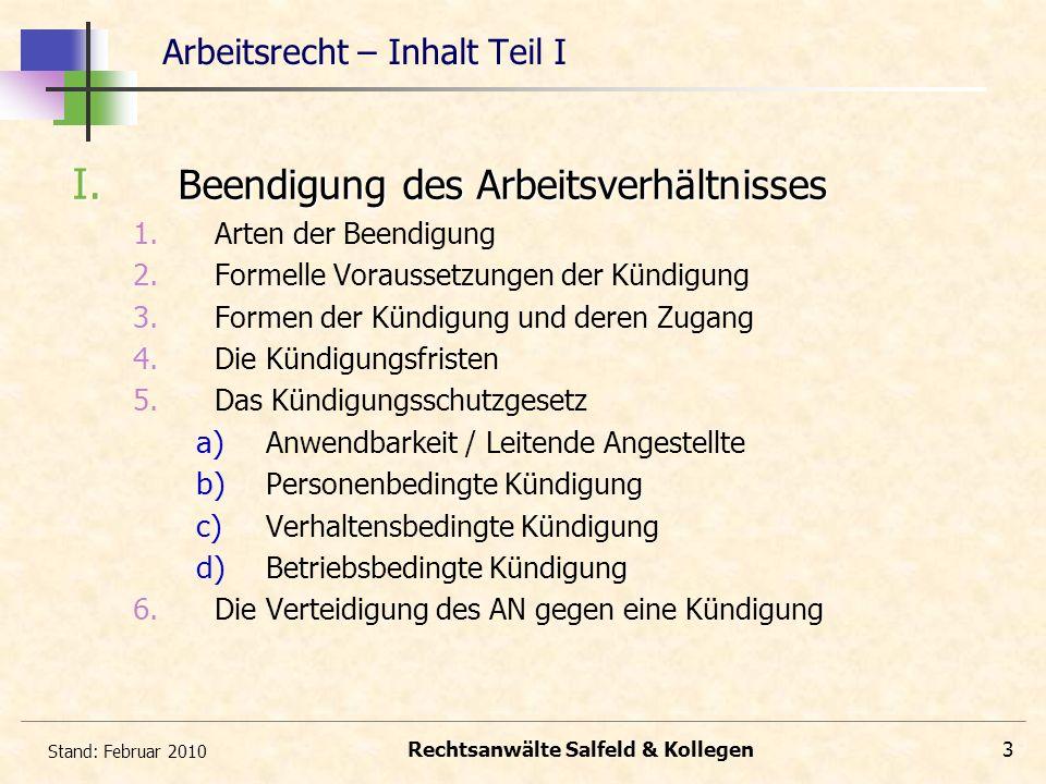 Stand: Februar 2010 Rechtsanwälte Salfeld & Kollegen3 Arbeitsrecht – Inhalt Teil I I. Beendigung des Arbeitsverhältnisses 1. Arten der Beendigung 2. F