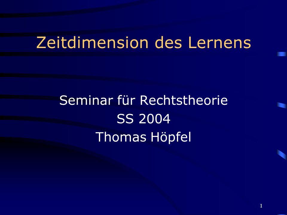 1 Zeitdimension des Lernens Seminar für Rechtstheorie SS 2004 Thomas Höpfel