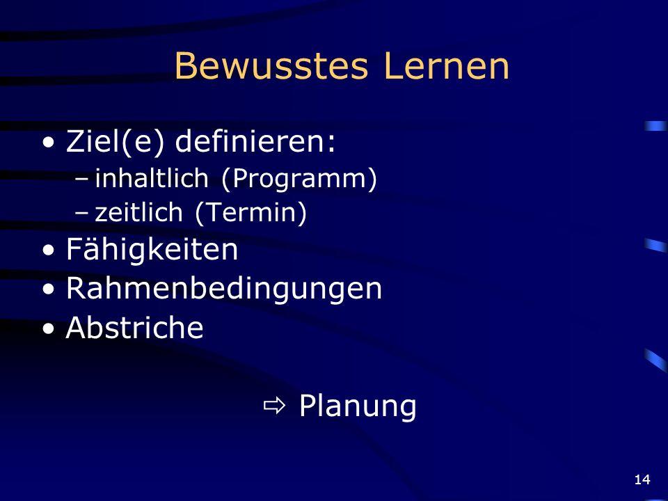 14 Bewusstes Lernen Ziel(e) definieren: –inhaltlich (Programm) –zeitlich (Termin) Fähigkeiten Rahmenbedingungen Abstriche Planung