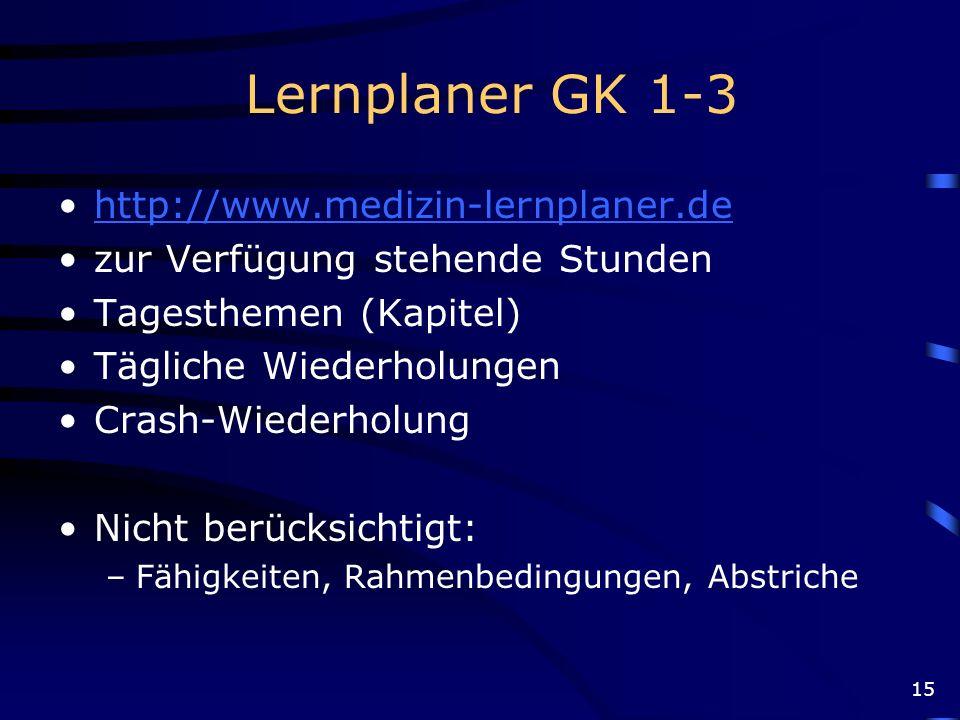 15 Lernplaner GK 1-3 http://www.medizin-lernplaner.de zur Verfügung stehende Stunden Tagesthemen (Kapitel) Tägliche Wiederholungen Crash-Wiederholung