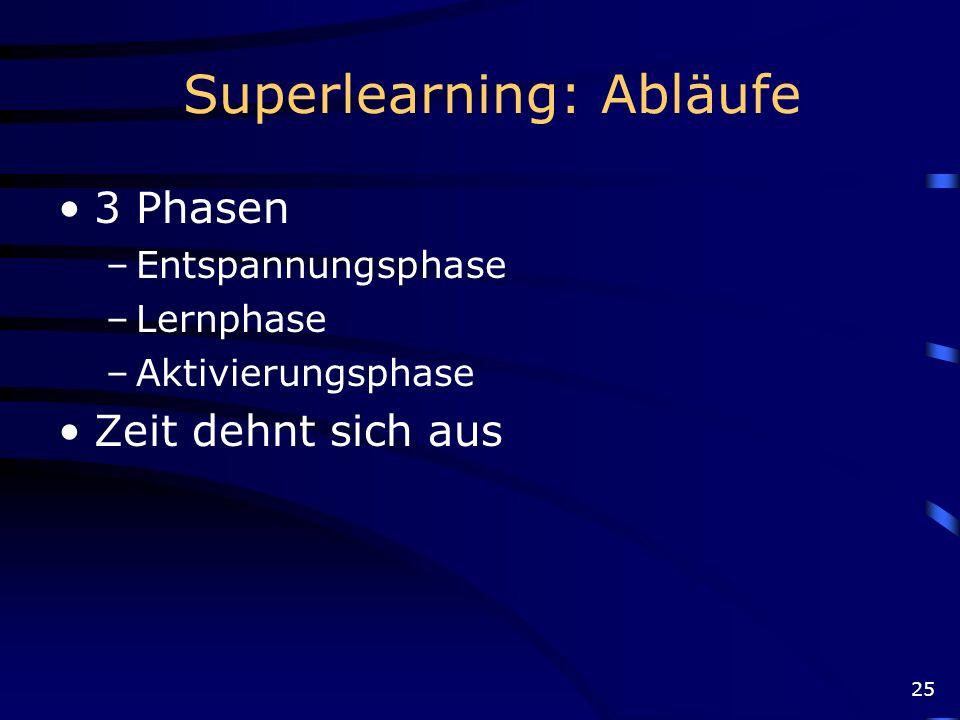 25 Superlearning: Abläufe 3 Phasen –Entspannungsphase –Lernphase –Aktivierungsphase Zeit dehnt sich aus