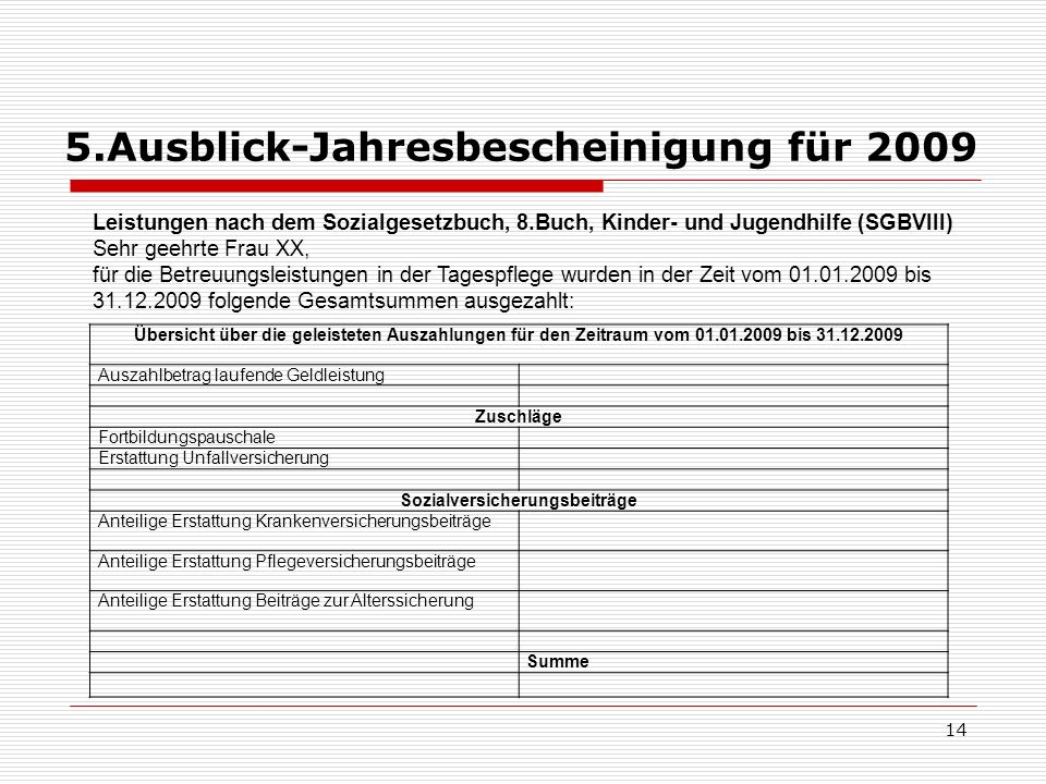 5.Ausblick-Jahresbescheinigung für 2009 14 Übersicht über die geleisteten Auszahlungen für den Zeitraum vom 01.01.2009 bis 31.12.2009 Auszahlbetrag la