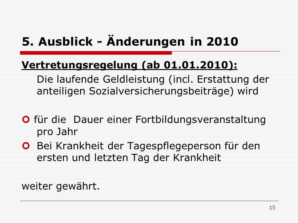 5. Ausblick - Änderungen in 2010 Vertretungsregelung (ab 01.01.2010): Die laufende Geldleistung (incl. Erstattung der anteiligen Sozialversicherungsbe