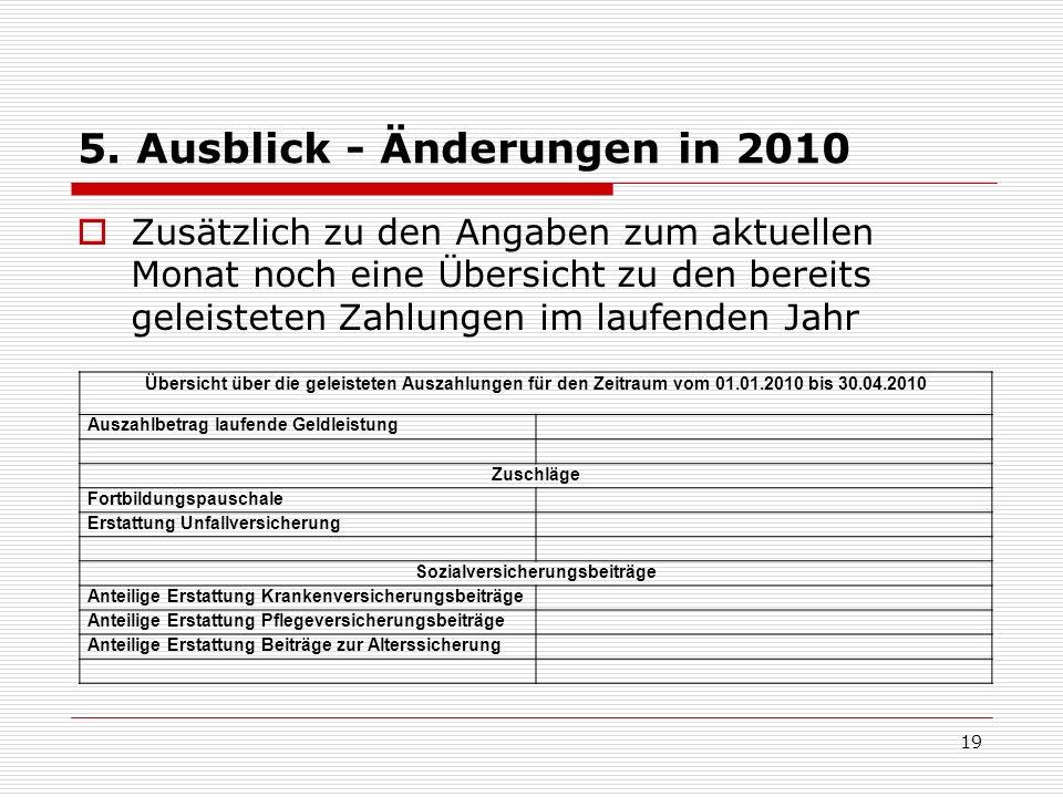5. Ausblick - Änderungen in 2010 Zusätzlich zu den Angaben zum aktuellen Monat noch eine Übersicht zu den bereits geleisteten Zahlungen im laufenden J