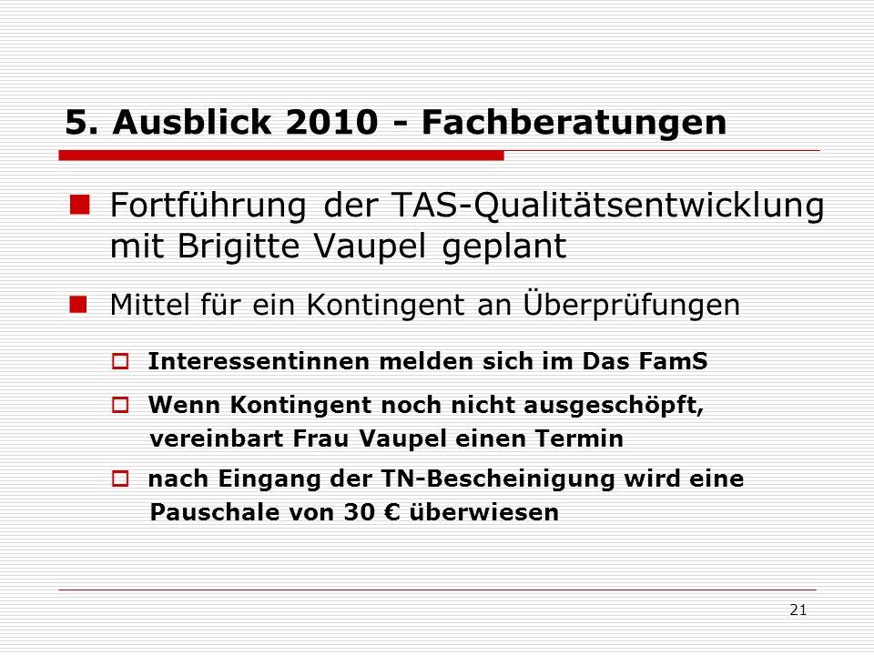 5. Ausblick 2010 - Fachberatungen Fortführung der TAS-Qualitätsentwicklung mit Brigitte Vaupel geplant Mittel für ein Kontingent an Überprüfungen Inte
