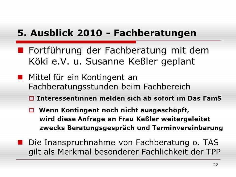 5. Ausblick 2010 - Fachberatungen Fortführung der Fachberatung mit dem Köki e.V. u. Susanne Keßler geplant Mittel für ein Kontingent an Fachberatungss