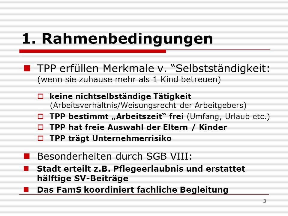 1. Rahmenbedingungen TPP erfüllen Merkmale v. Selbstständigkeit: (wenn sie zuhause mehr als 1 Kind betreuen) keine nichtselbständige Tätigkeit (Arbeit