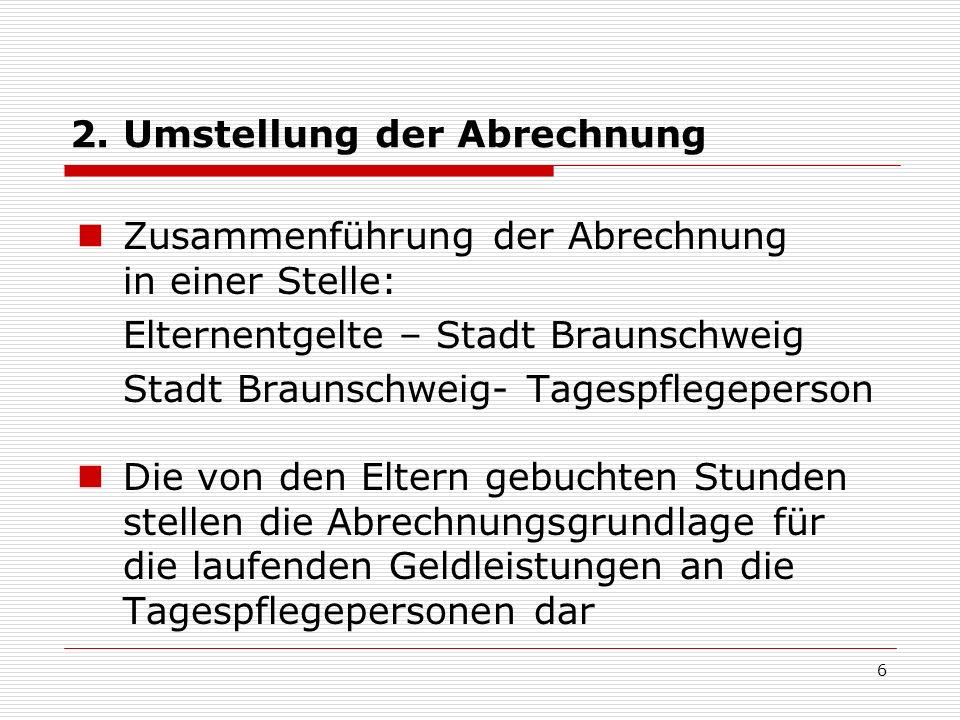2. Umstellung der Abrechnung Zusammenführung der Abrechnung in einer Stelle: Elternentgelte – Stadt Braunschweig Stadt Braunschweig- Tagespflegeperson