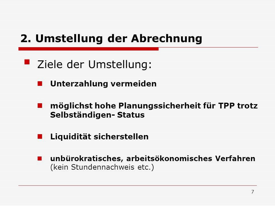 2. Umstellung der Abrechnung Ziele der Umstellung: Unterzahlung vermeiden möglichst hohe Planungssicherheit für TPP trotz Selbständigen- Status Liquid