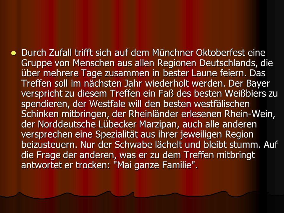 Durch Zufall trifft sich auf dem Münchner Oktoberfest eine Gruppe von Menschen aus allen Regionen Deutschlands, die über mehrere Tage zusammen in best